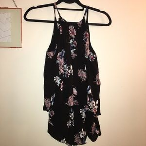 Adorable Black Romper with Flowers 🌺 🌸